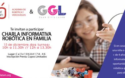Robótica en Familia, ven y conoce esta oportunidad con Geek Girls LatAm e Innovat